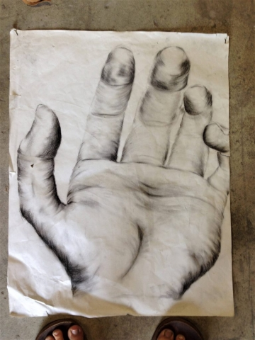 Charcoal hand drawing