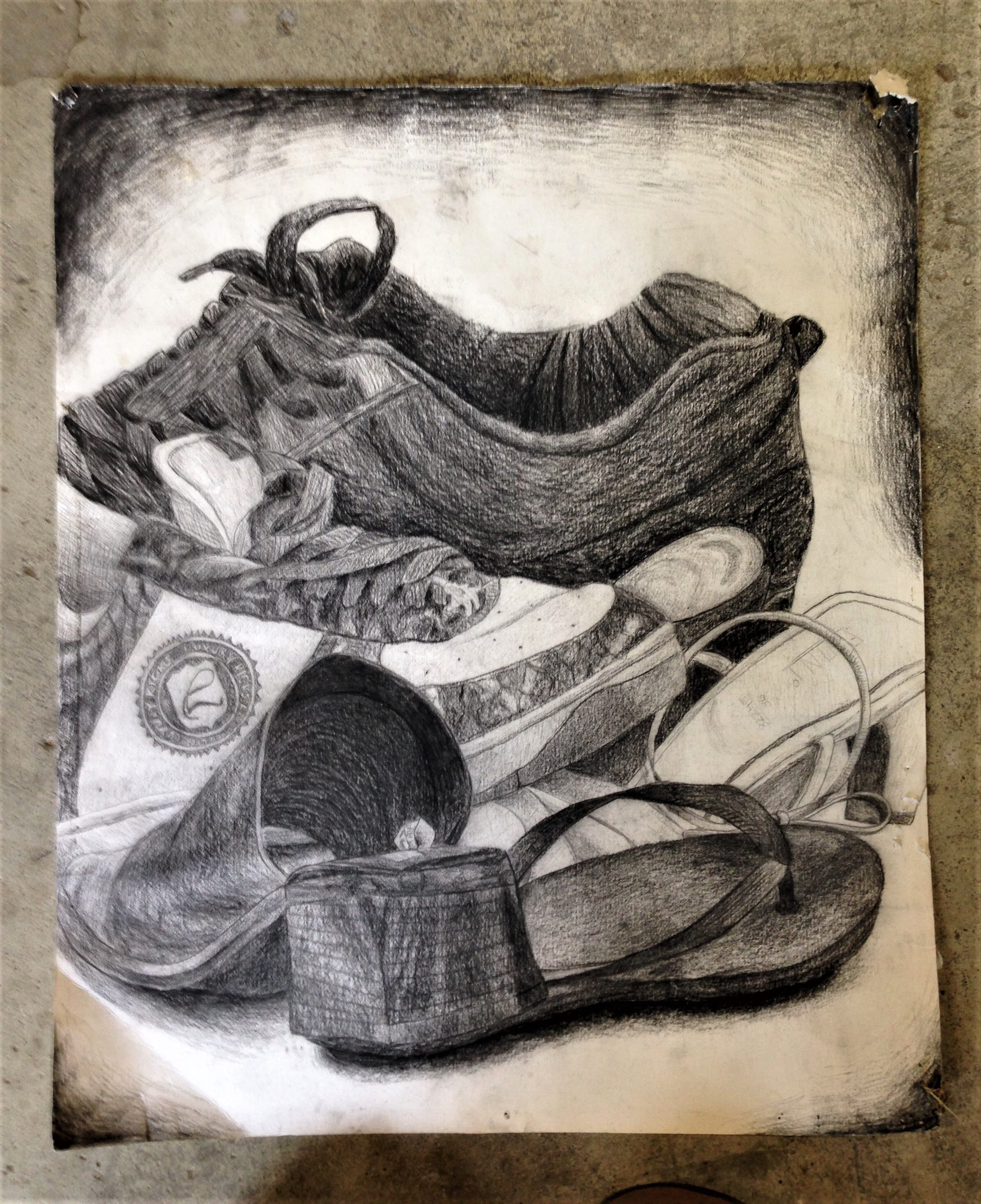 Charcoal shoe drawing
