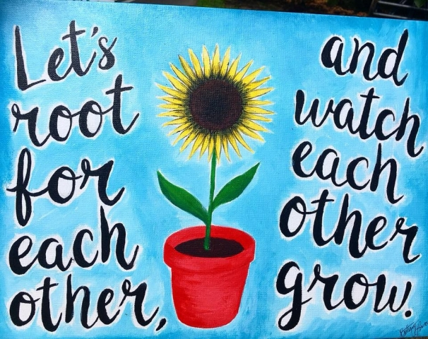 painting with quote and sunflower