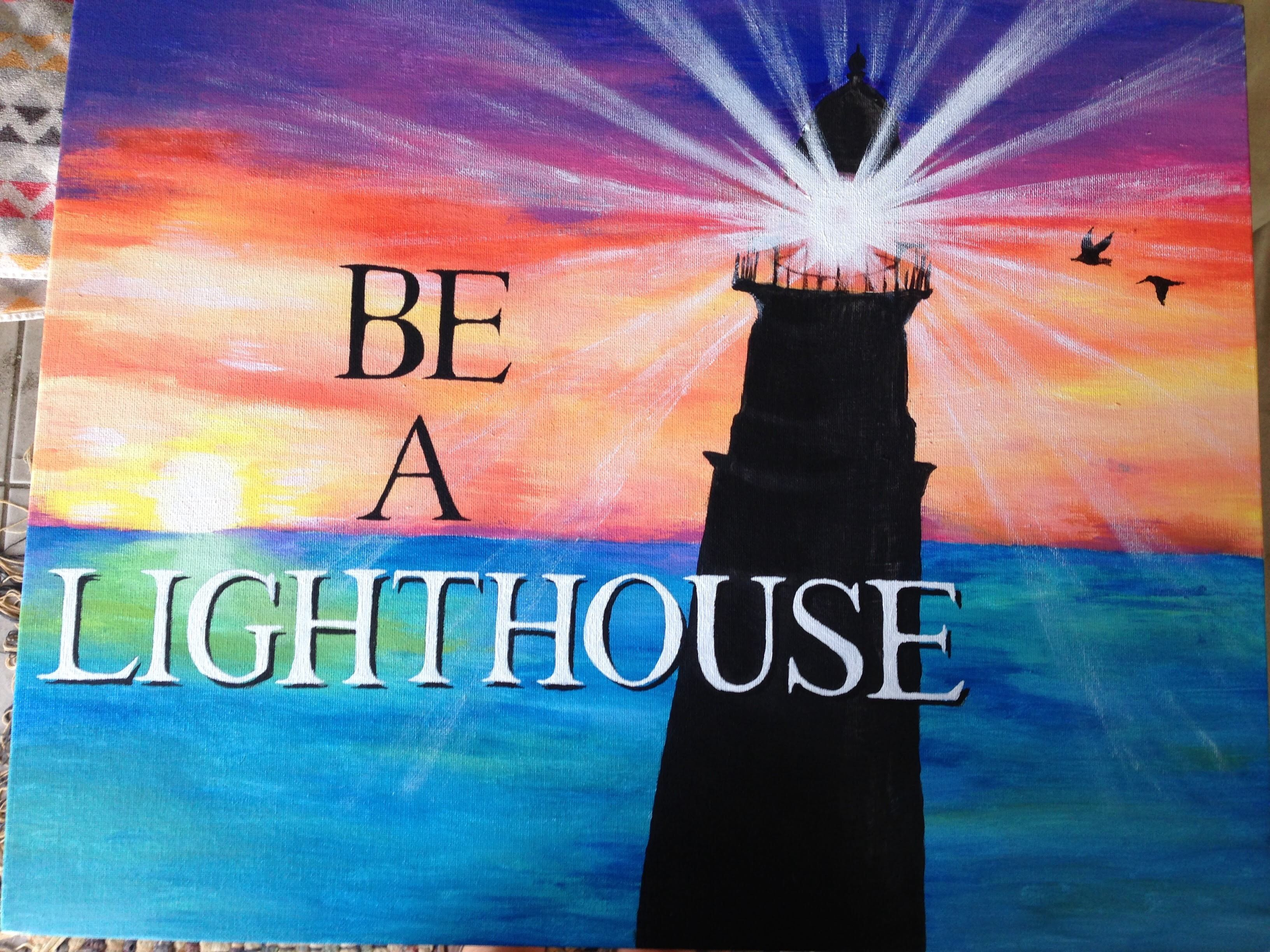 Colorful acrylic painting with lighthouse and quote