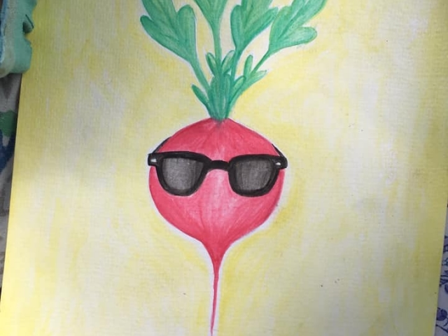 Radish pun watercolor art