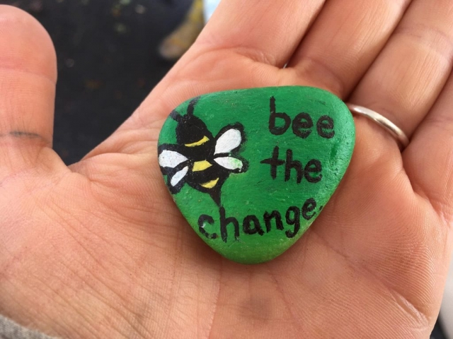 Bee painted rock