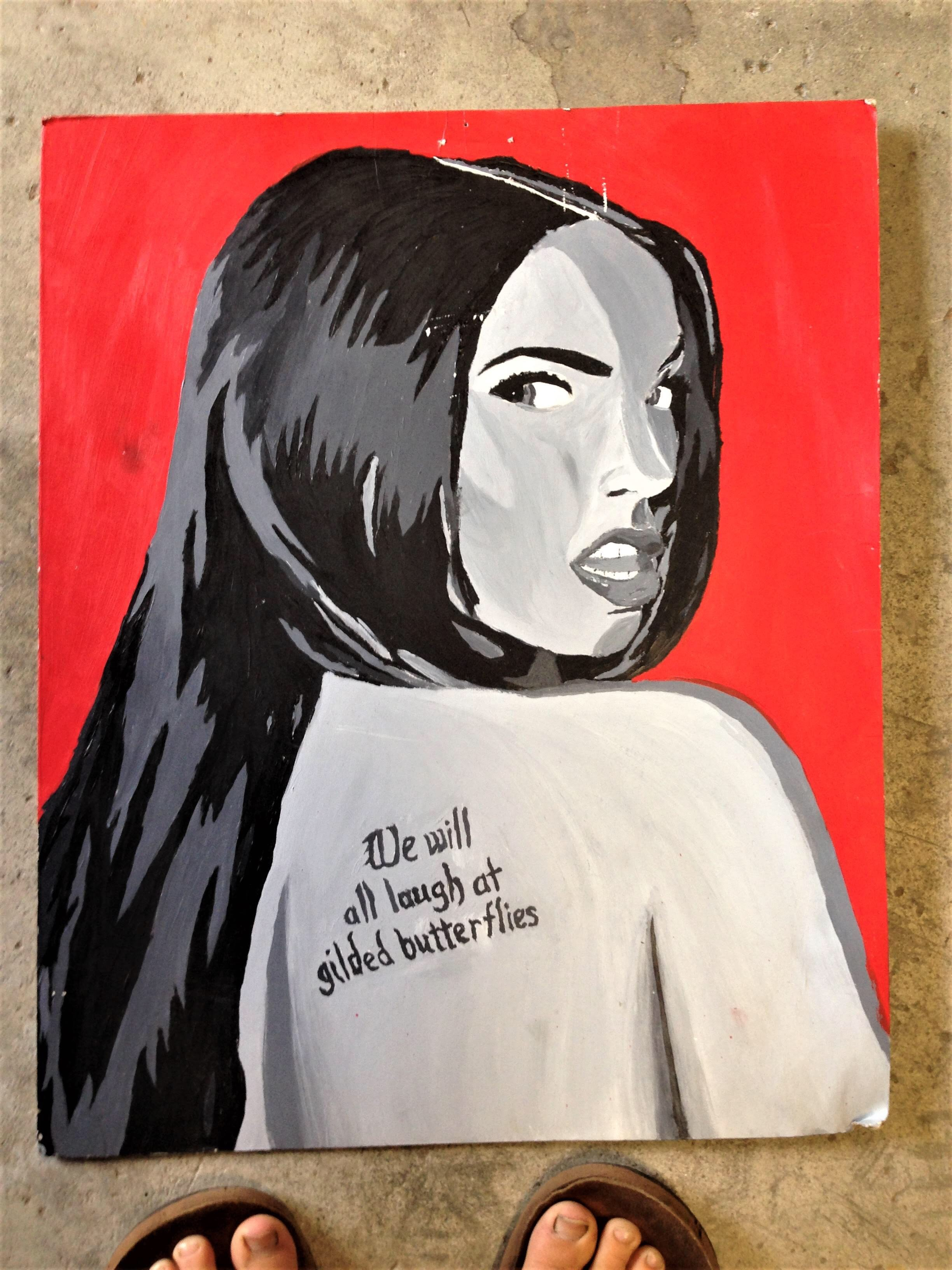 Acrylic on canvas painting of Megan Fox