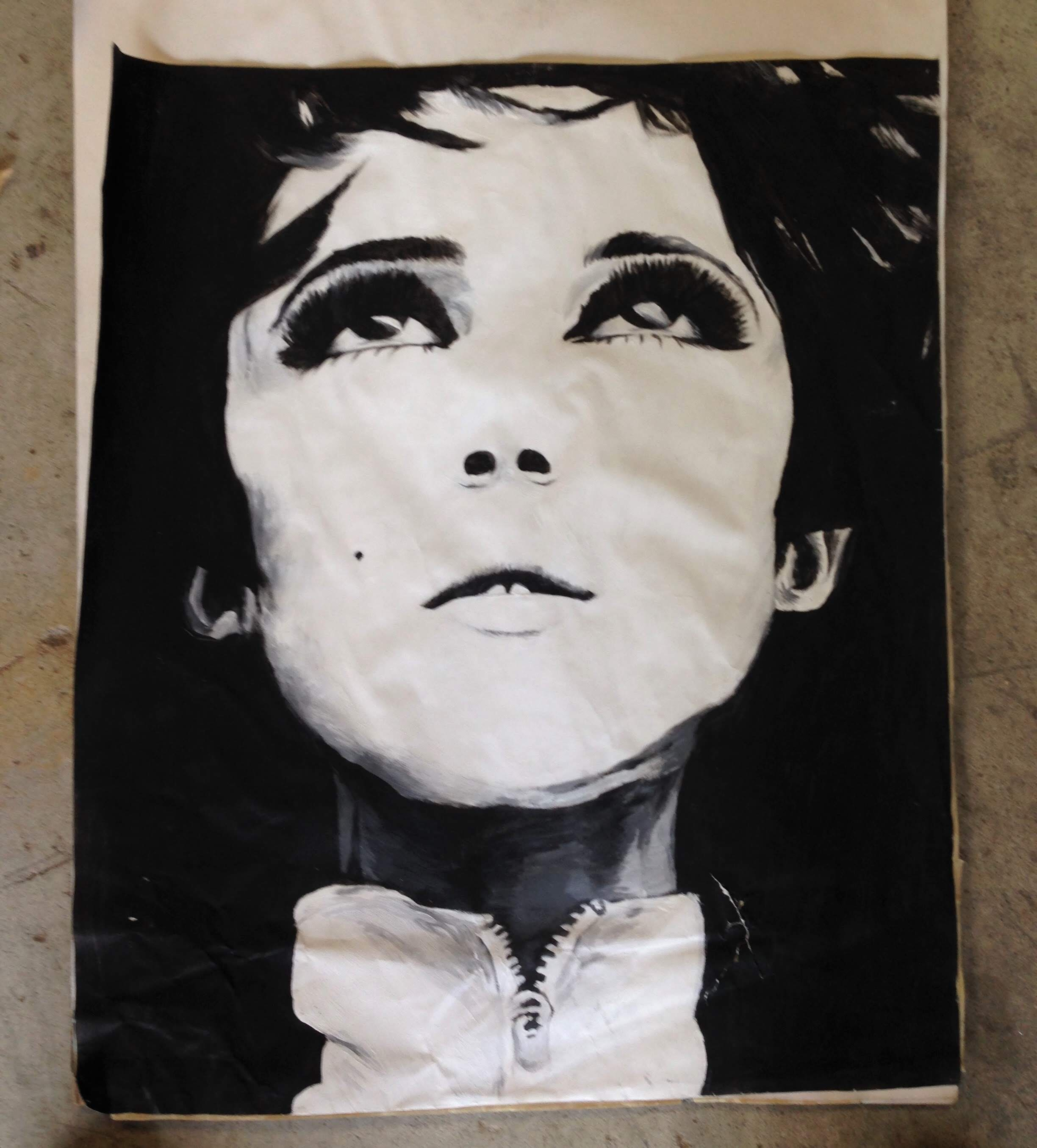 Black and white acrylic painting of Edie Sedgwick