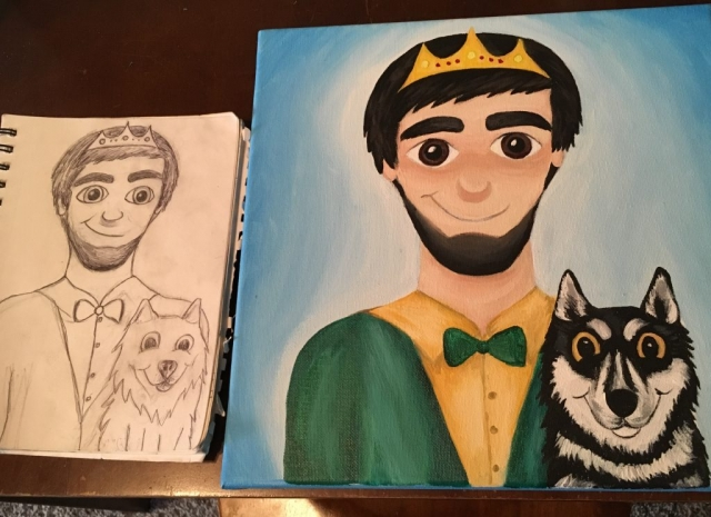 Disney style painting of prince and huskey
