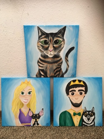 Disney style painting of prince, princess, and family pets