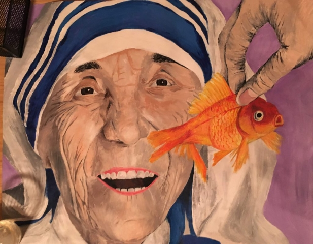 Mother Theresa eating goldfish acrylic on paper