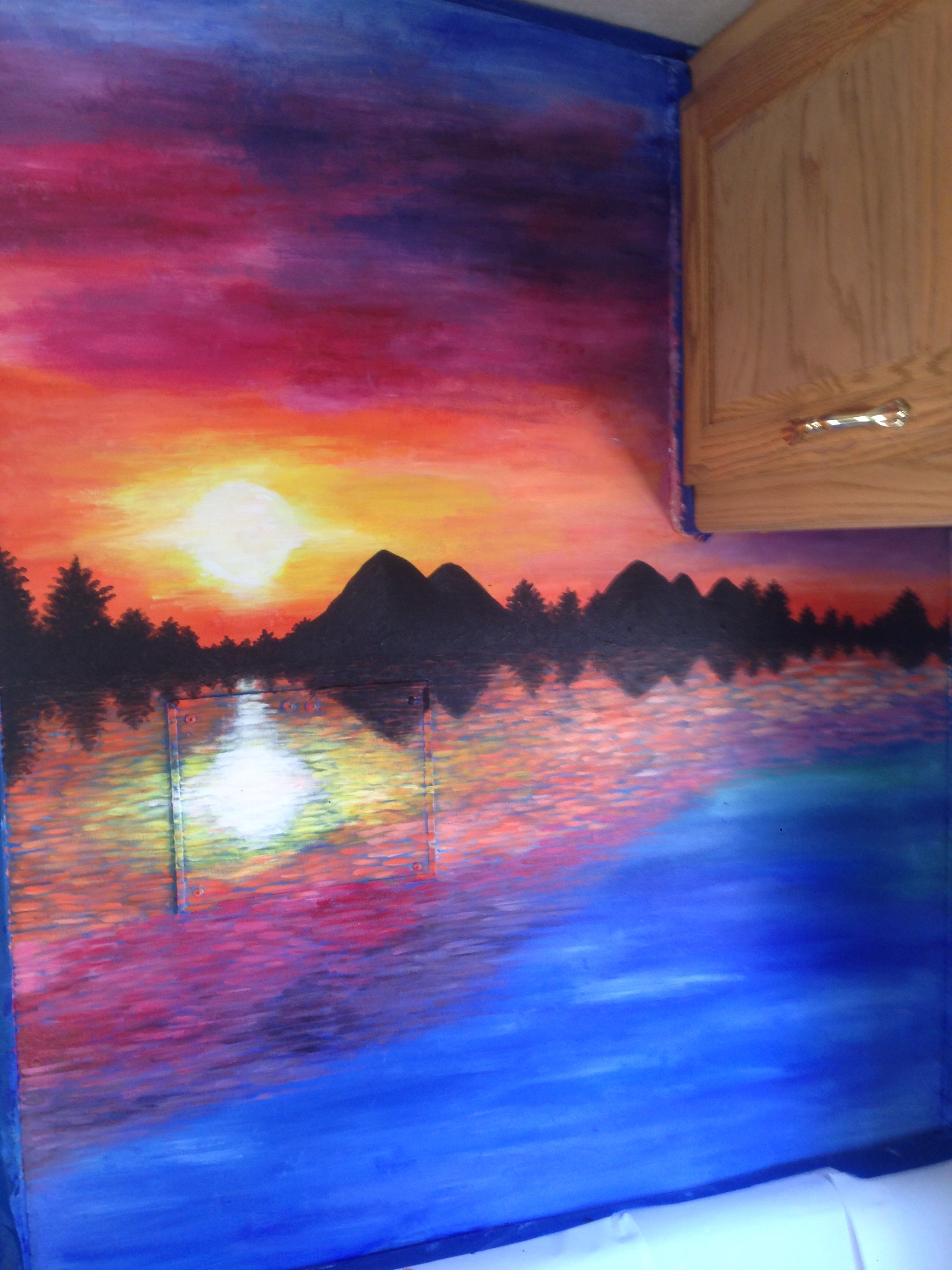 Sunset with sillouette and reflection in water acrylic painting
