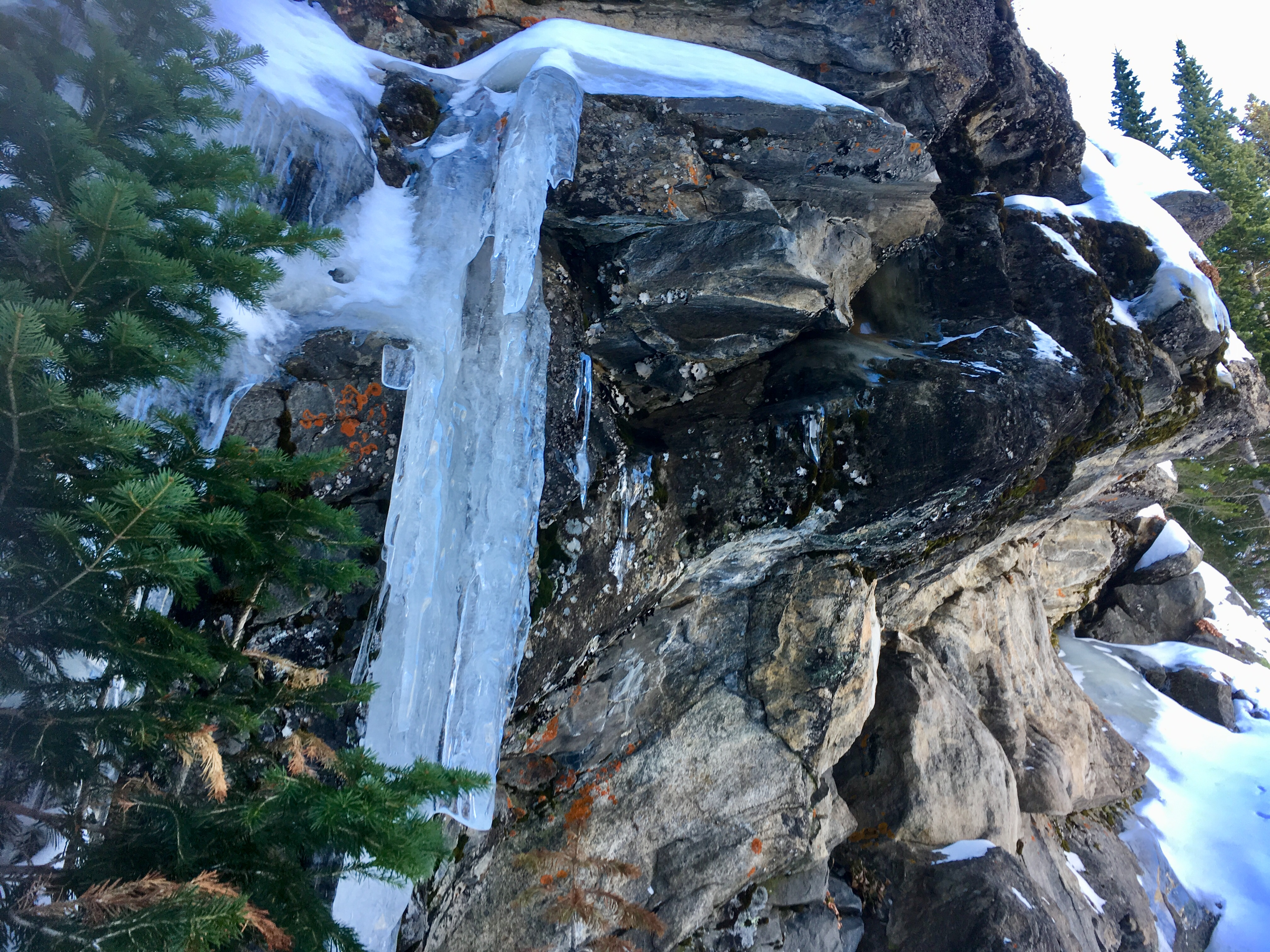 Icicles on rock