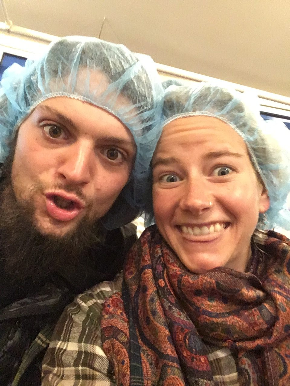 Boy and girl in hairnets