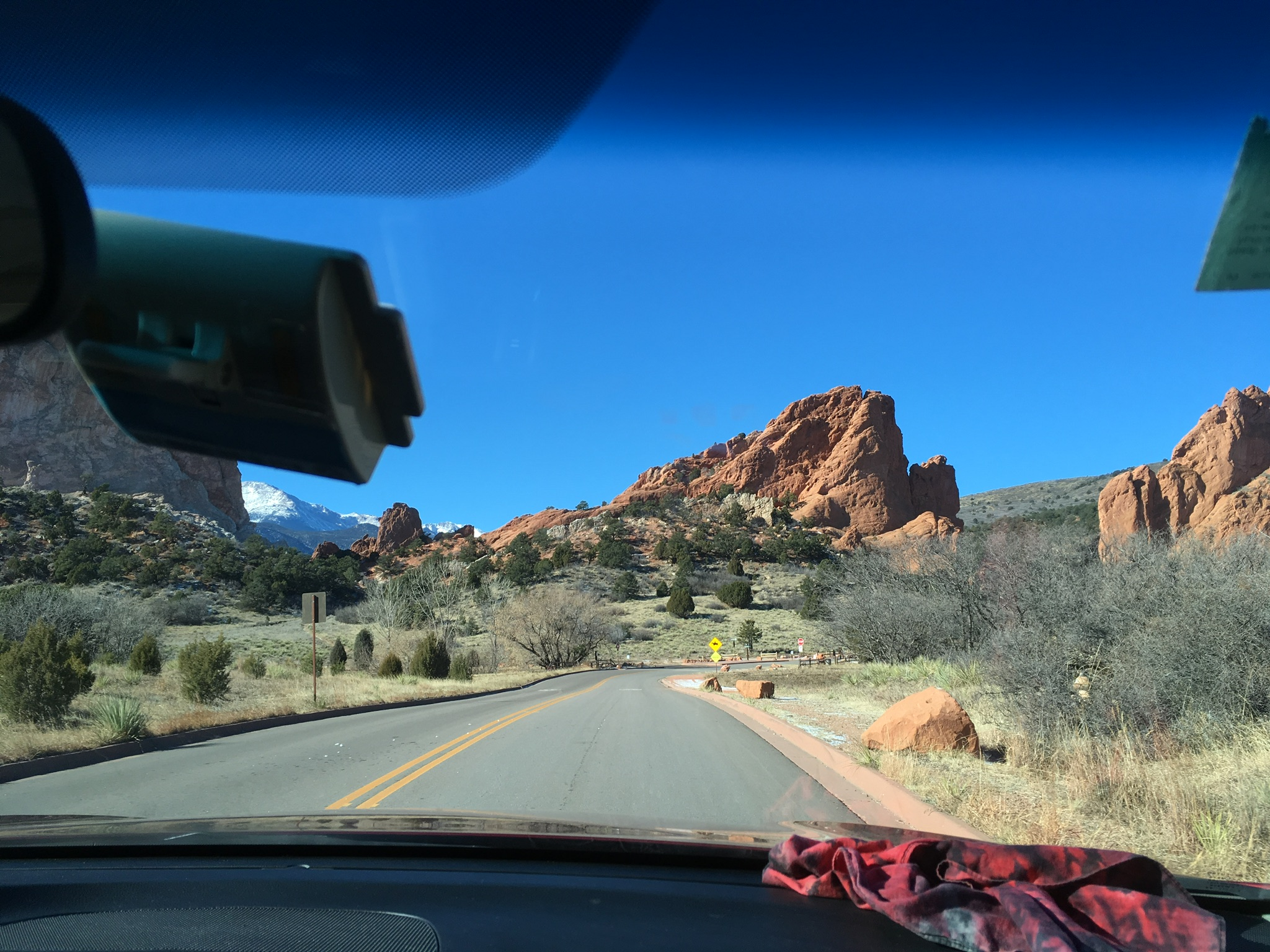 View of rocks inside the car