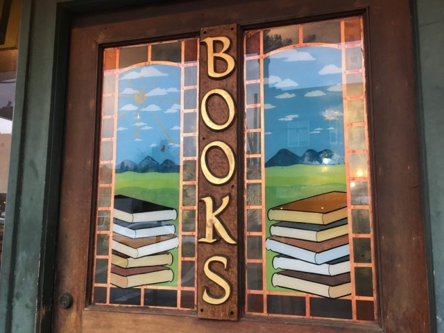 Book store glass on door