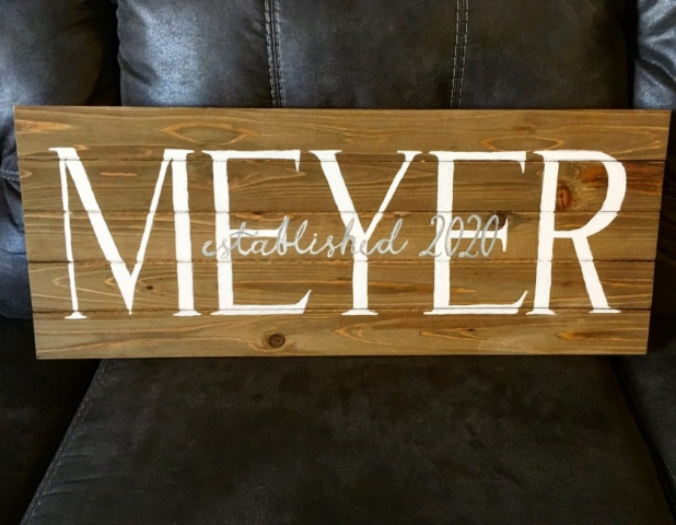 wooden engagement sign, wooden marriage date sign, last name on wood