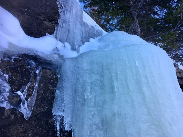Big icicles on rock