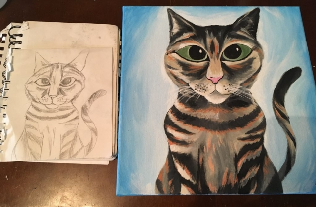 Disney style acrylic painting of cat