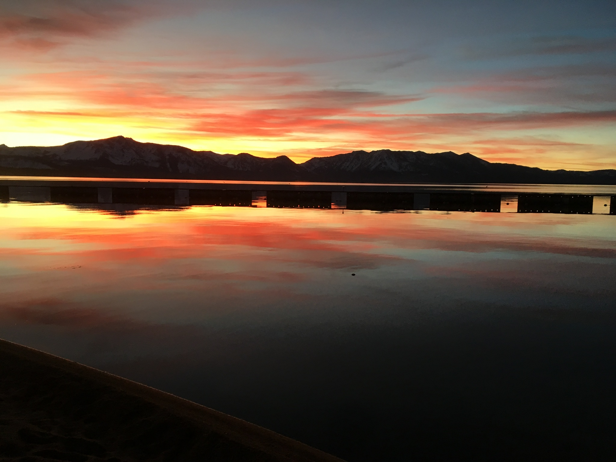 Colorful sunset over Lake Tahoe