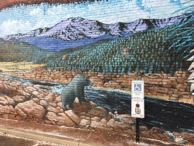 Bear with stream and mountains street art