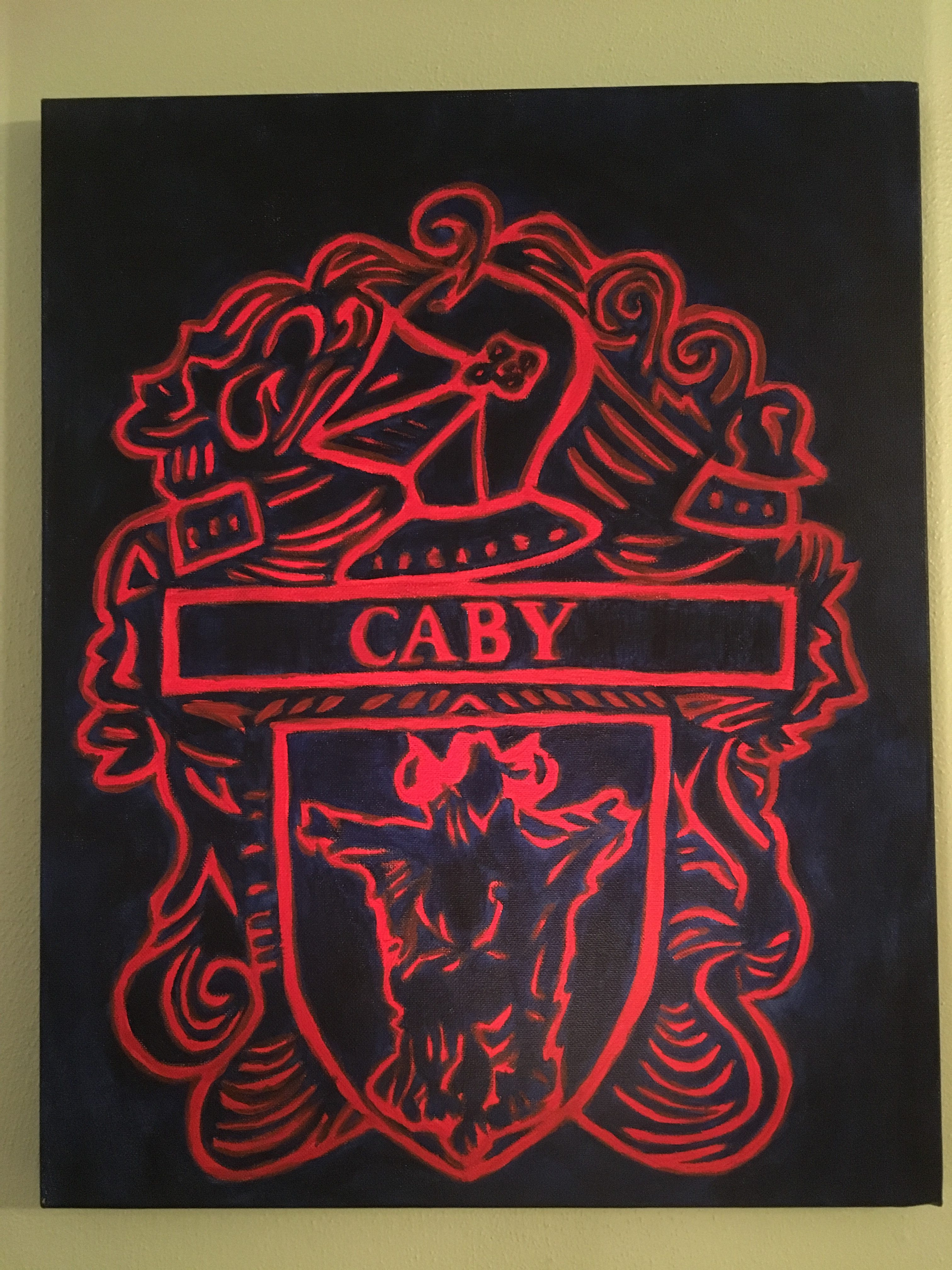 Caby crest painting, family crest painting