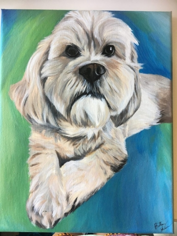 acrylic dog painting on canvas