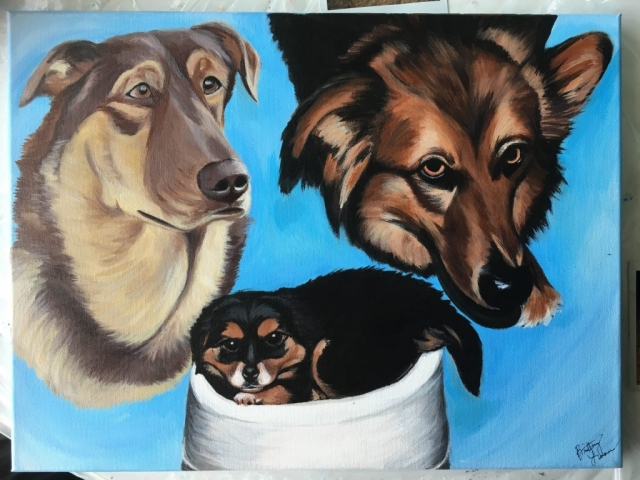 three dogs on one canvas