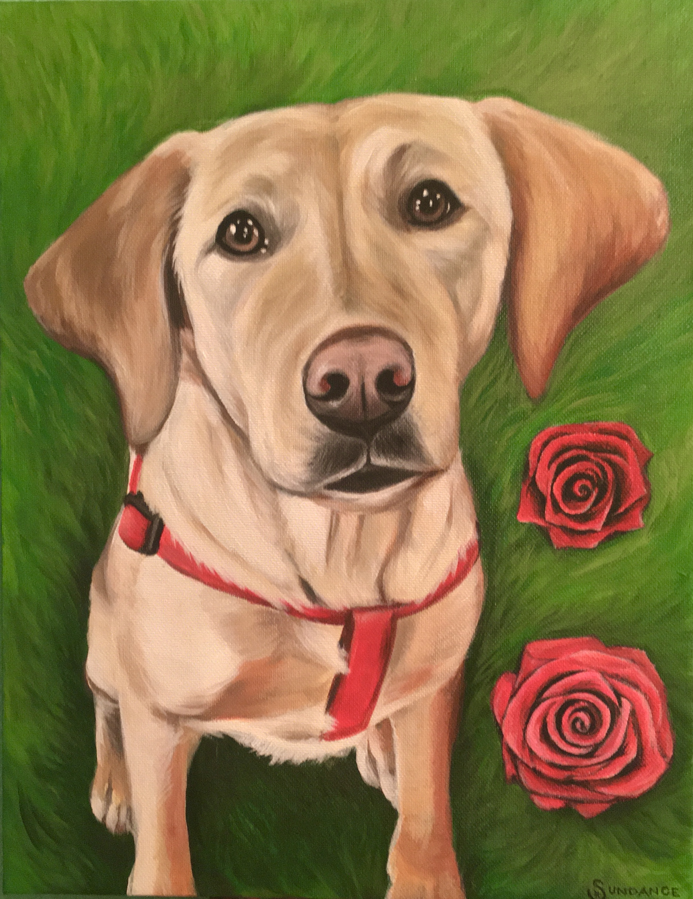 dog and roses painting