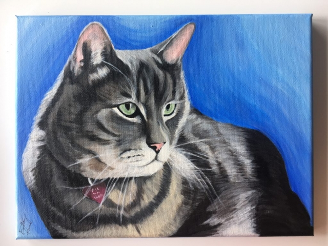 acrylic cat painting on canvas