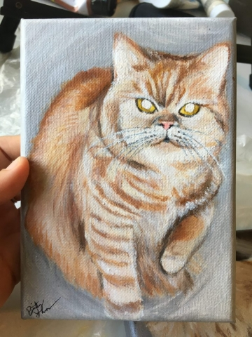 cat pet portrait, cat painting