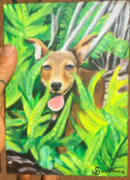 dog in plants painting