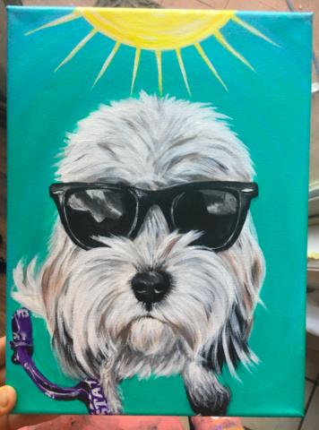 dog with sunglasses portrait painting