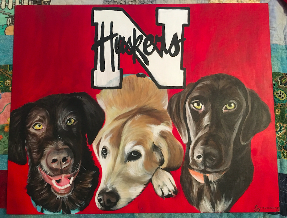 three dog Nebraska huskers painting