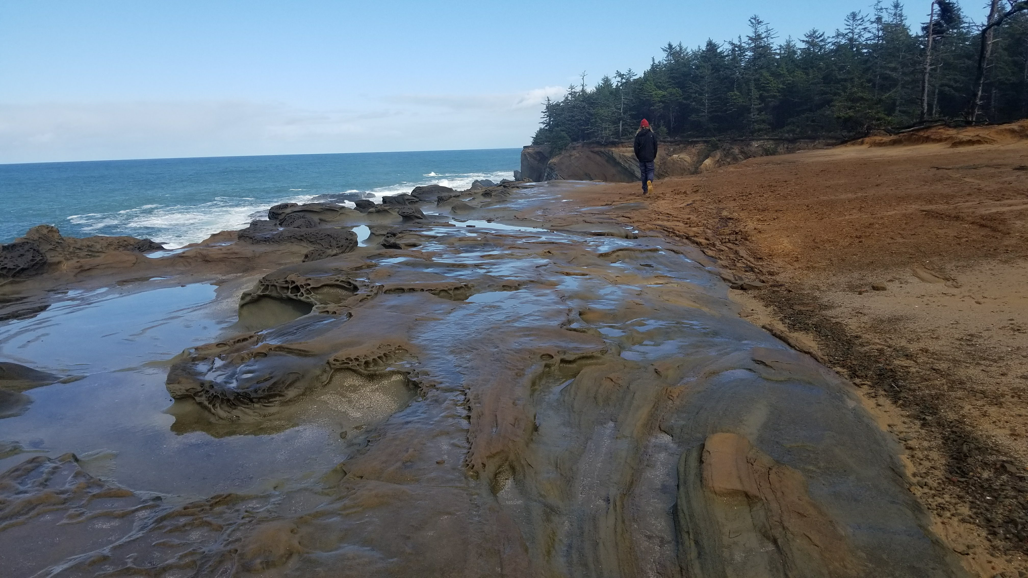 rocks near ocean with trees and boy walking in distance