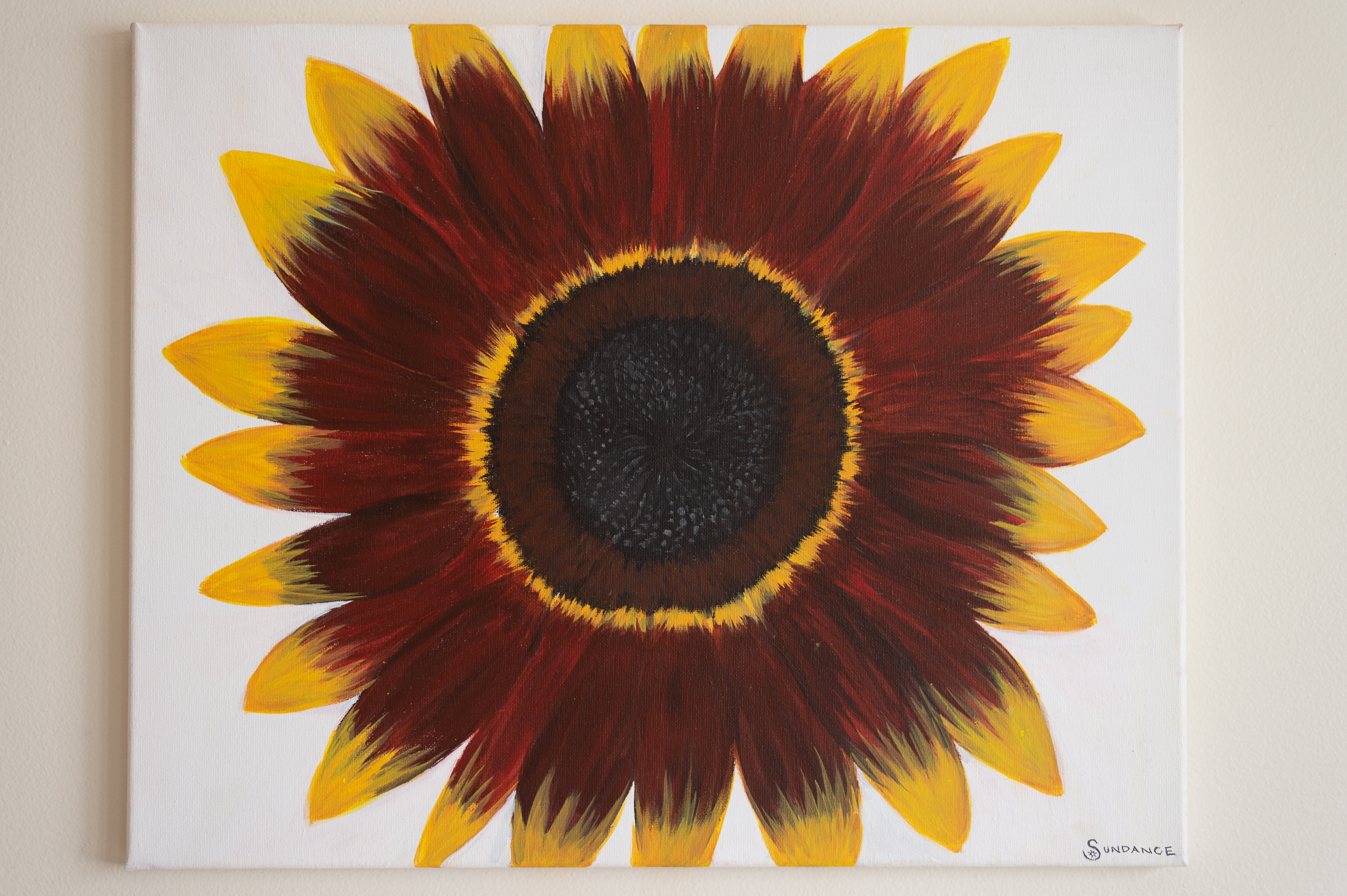 sunflower painting red and yellow