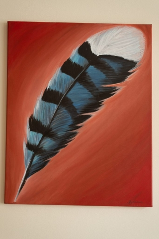 blue jay feather painting