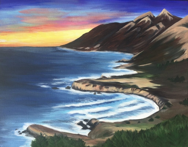 Big Sur sunset coastline painting
