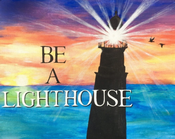 sunset lighthouse painting