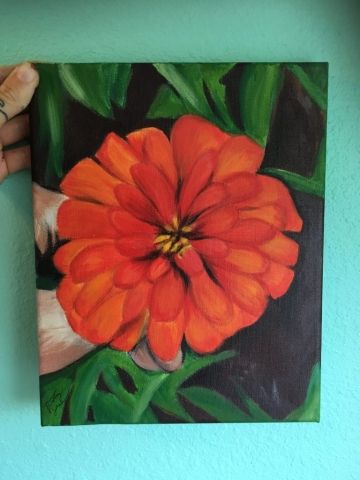 zinnia flower painting