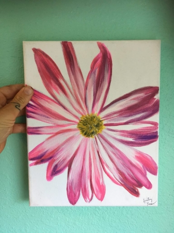 pink and purple flower painting