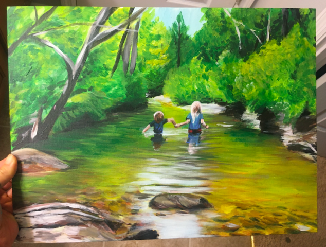river, children, nature, landscape, trees, outdoors, painting
