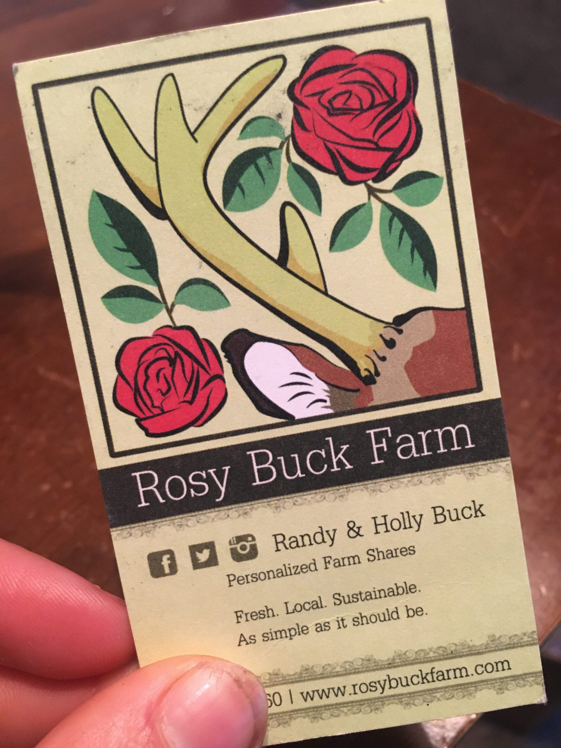 Rosy Buck Farm business card