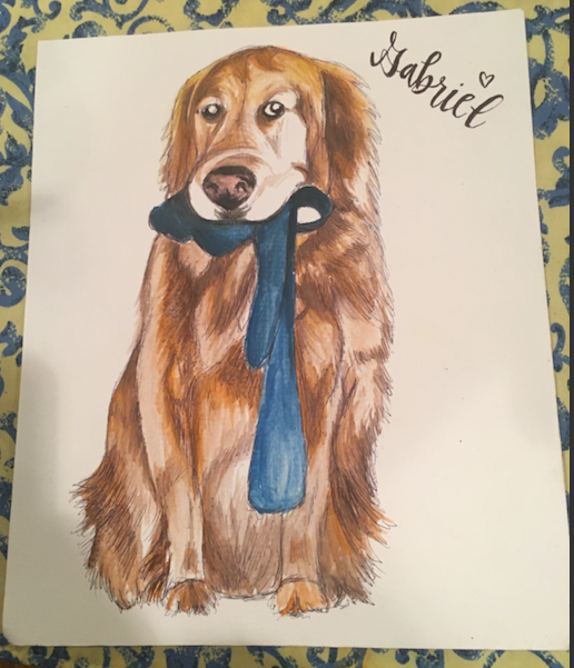 watercolor painting golden retriever