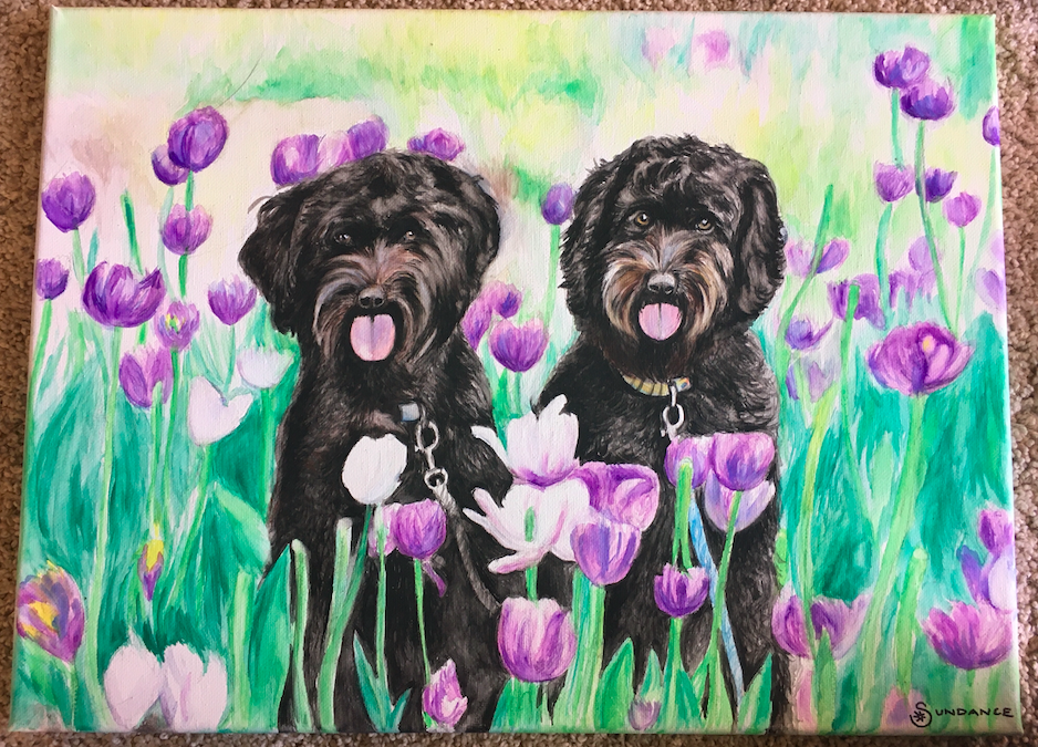 watercolor, pet portraits, puppy portraits, dog portraits, dogs in tulips, flowers, dogs