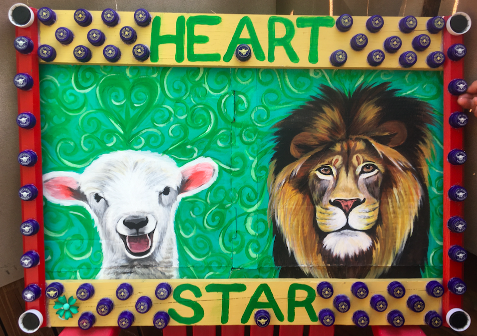 lion and lamb painting with frame