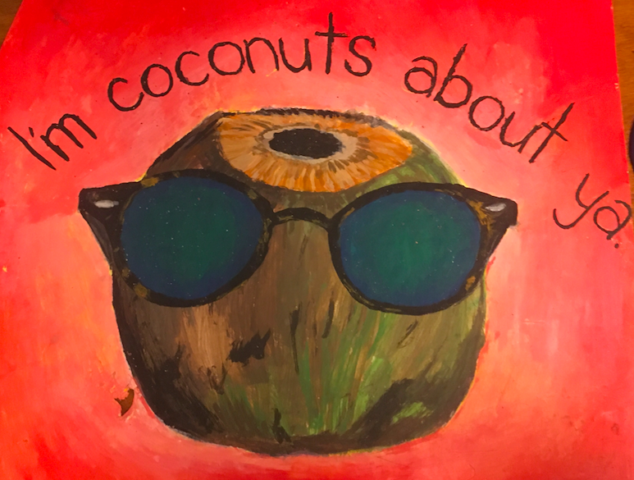 coconut painting with words