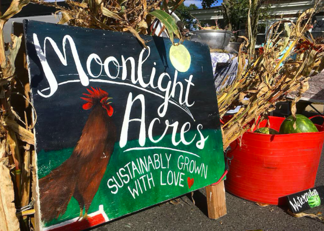 sign with moon and rooster and moonlight acres