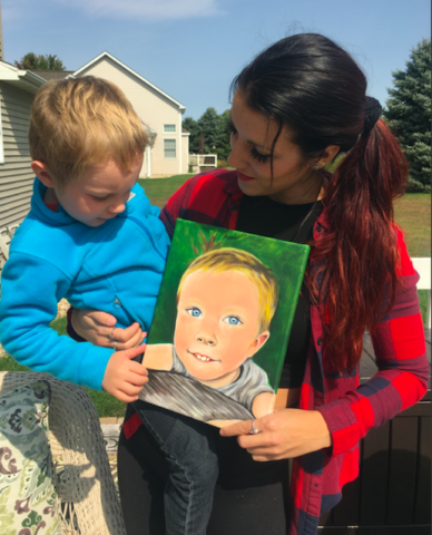 mom, son, portrait, painting, gift
