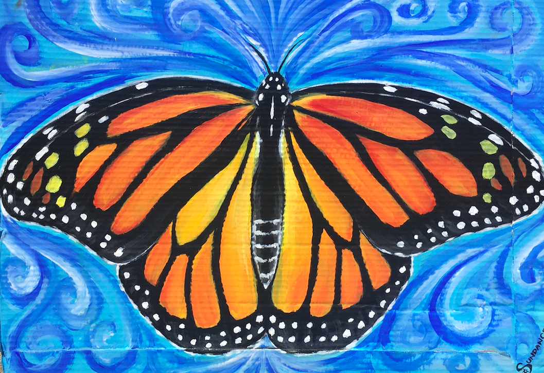 monarch, monarch butterfly, butterfly, transformation, recycle art, painting
