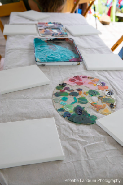 blank canvases and paint