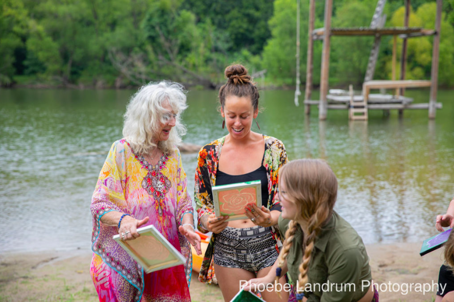 women, artwork, painting, lake, lost hill lake, smiles, sharing, connection
