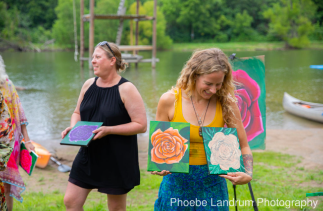 rose paintings, roses, artwork, acrylic, workshop, class, offering, lost hill lake, lake